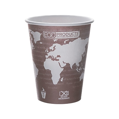 Eco-Products World Art Hot Cups, 8 Oz., Brown/White, 1000/Carton (EP-BHC8-WA)