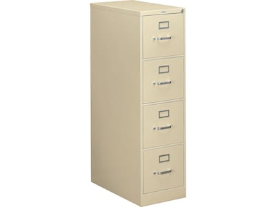 "HON 310 Series 4-Drawer Vertical File Cabinet, Locking, Putty/Beige, Letter, 26.5""D (H314.P.L) NEXT2019 NEXT2Day"