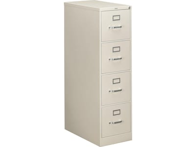 "HON 310 Series 4-Drawer Vertical File Cabinet, Locking, Letter, Gray, 26.5""D (H314.P.Q) NEXT2019 NEXT2Day"