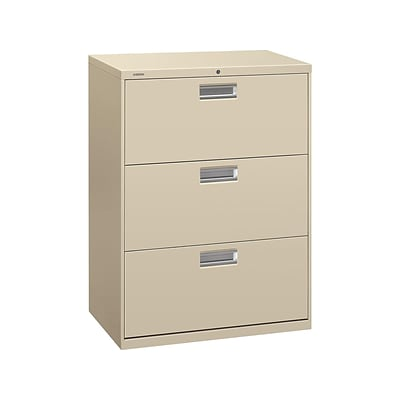Hon Brigade 600 Series 3 Drawer Lateral File Cabinet Locking Letter Legal