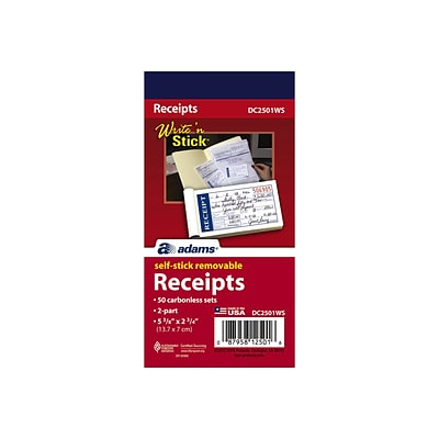 Adams Write N Stick Receipt Book, 2.75L x 5.38W, 50/Pack (ABF DC2501WS)
