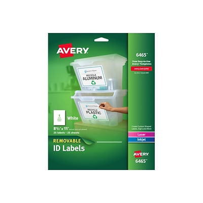 Avery Laser/Inkjet Identification Labels, 8 1/2 x 11, White, 1/Sheet, 25 Sheets/Pack (6465)