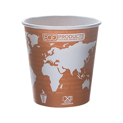 Eco-Products World Art Hot Cups, 10 Oz., Brown/White, 1000/Carton (EP-BHC10-WA)