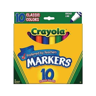 Crayola Kids Markers, Broad Line, Assorted Colors, 10/Pack (58-7722)