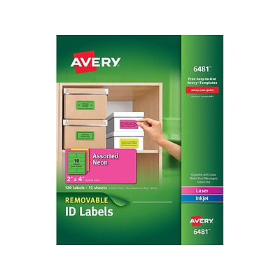 Avery Laser/Inkjet Identification Labels, 2 x 4, Assorted Neon Colors, 10/Sheet, 12 Sheets/Pack (6481)