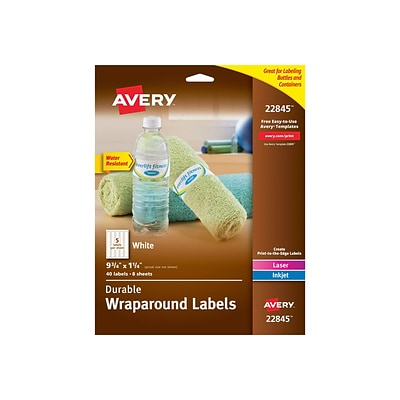 Avery Durable Wraparound Laser/Inkjet Specialty Labels, 9 3/4 x 1 1/4, White, 5/Sheet, 8 Sheets/Pack (22845)