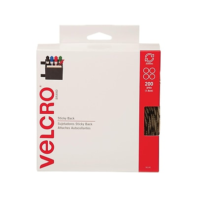 Velcro 0.75Dia Sticky Back Hook & Loop Fasteners, Beige, 200/Roll (90140)