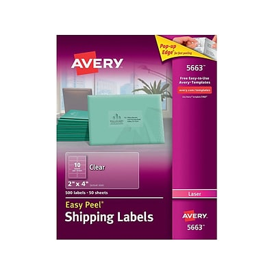 Avery Matte Clear Shipping Labels, Sure Feed Technology, Laser, 2 x 4, 500 Labels (5663)