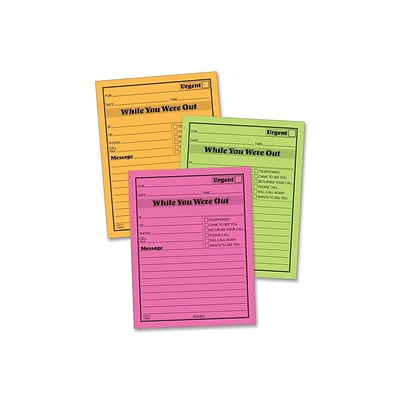 Adams While You Were Out Memo Pads, 4.25 x 5.5, Assorted Colors, 50 Sheets/Pad, 6 Pads/Pack (9711NEON)