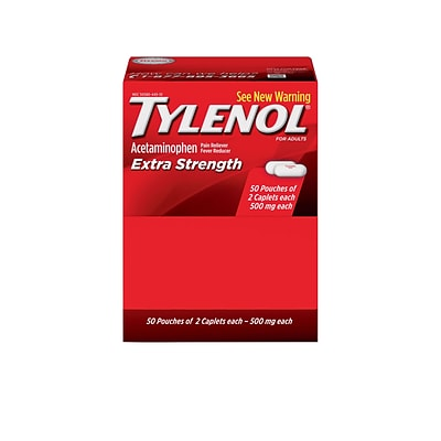Extra Strength Tylenol 500mg Acetaminophen Pain Reliever Caplet, 2/Pouch, 50 Pouches/Box (44910)