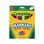 Crayola Kids Markers, Broad Line, Assorted Colors, 8/Box (58-7708)