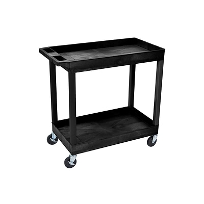 Luxor 2-Shelf Laminate Utility Cart, Black (EC11-B)