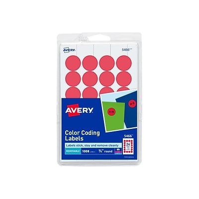 Avery Laser/Inkjet Color Coding Labels, 3/4 Dia., Red, 24/Sheet, 42 Sheets/Pack (5466)