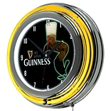 Guinness Chrome Double Rung Neon Clock - Feathering