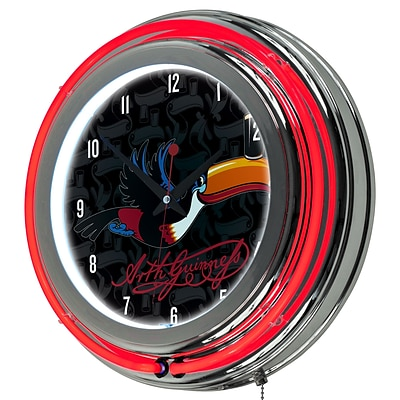 Guinness Chrome Double Rung Neon Clock - Toucan