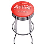 Coca Cola Chrome Ribbed Bar Stool - Delicious Refreshing