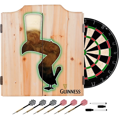 Guinness Dart Cabinet Set with Darts and Board - Feathering