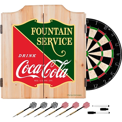 Coca Cola Dart Cabinet Set with Darts and Board - Fountain Service