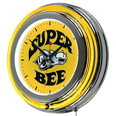 Dodge Chrome Double Rung Neon Clock - Super Bee
