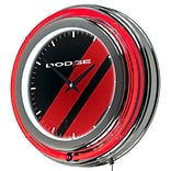 Dodge Chrome Double Rung Neon Clock - Big Stripe