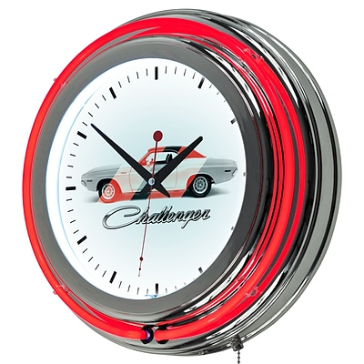 Dodge Chrome Double Rung Neon Clock - Challenger Stripe