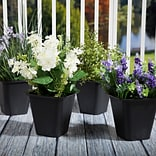 Set of 4 Pure Garden Plastic Flower Pots - 6 x 6 Inch Black