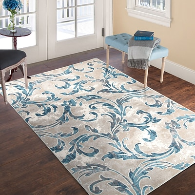 Lavish Home Vintage Leaves Rug - Ivory Blue - 4 x 6
