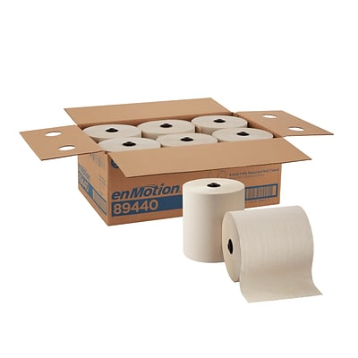 enmotion Hardwound Paper Towels, 1-Ply, 6 Rolls/Carton (89440)