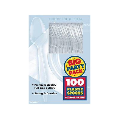 Amscan Plastic Soup Spoons, Medium-Weight, Clear, 100 Cutlery/Box, 3 Boxes/Pack (43601.86)