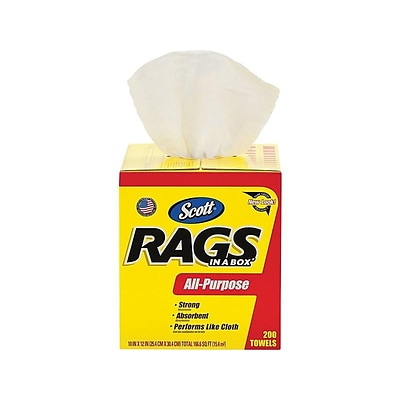 Scott In a Box Cellulose Rags, White, 200 Sheets/Box (75260)