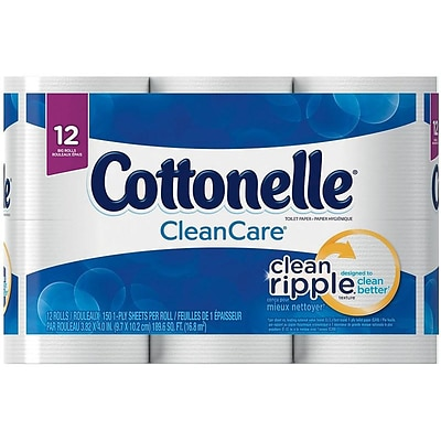 Cottonelle CleanCare 1-Ply Standard Toilet Paper, White, 150 Sheets/Roll, 48 Rolls/Pack (12456)