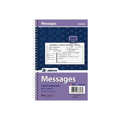 Adams Phone Message Pad, 5.5 x 8.5, Ruled, White, 100 Sheets/Pad (SC8603D)
