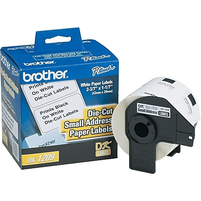 Brother DK1209 Label Printer Labels, 1.1W, White, 800/Roll