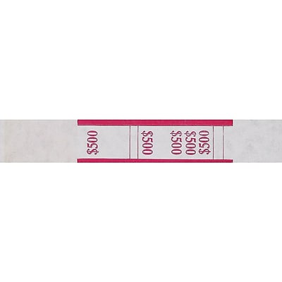 Pap-R Products Currency Straps, White with Red Print 1000/Pack (400500)