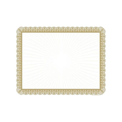 Great Papers Value 8.5H x 11W Certificates, Metallic Gold, 100/Pack