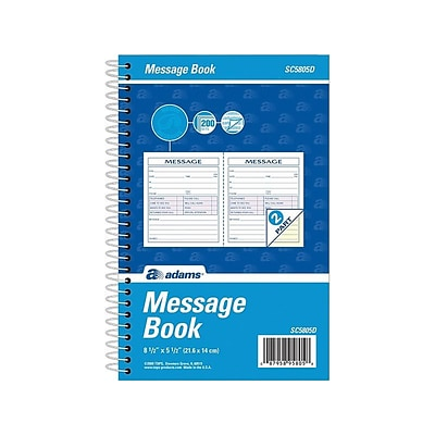 Adams Phone Message Pad, 5.5 x 8.5, Ruled, White, 100 Sheets/Pad (SC5805D)