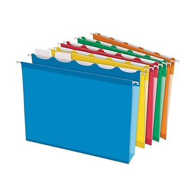 Pendaflex Ready-Tab Extra Capacity Reinforced Hanging File Folders, 5-Tab, Letter Size, Assorted Colors, 20/Box (PFX 42700)