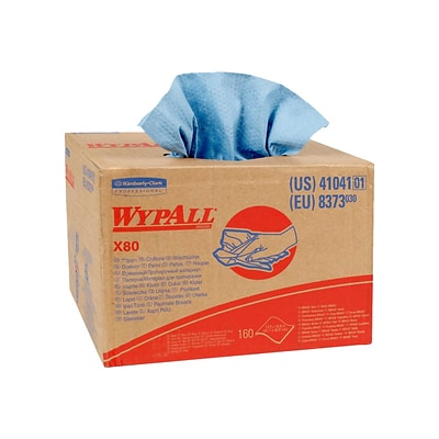 WypAll X80  HydroKnit Wipers, Blue, 160/Carton (41041)