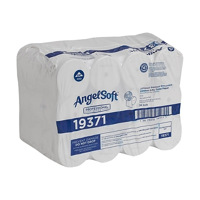 Angel Soft Professional Series Compact 2-Ply Coreless Toilet Paper, White, 750 Sheets/Roll, 36 Rolls/Carton (19371)