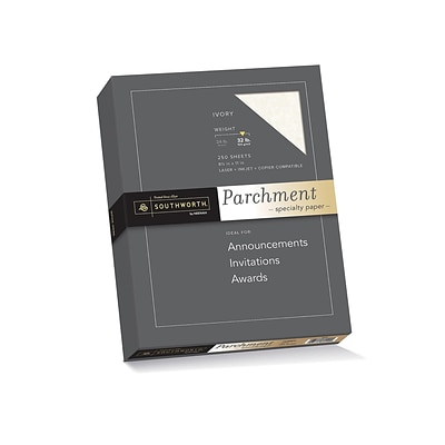 Southworth Parchment Specialty Multipurpose Paper, 32 lbs, 8.5 x 11, Ivory, 250/Box (J988C)