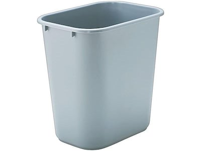 Rubbermaid Indoor Trash Can w/ No Lid, Gray Plastic, 7 Gal. (FG295600GRAY)
