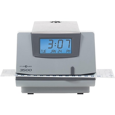 Pyramid Punch Card Time Clock System, Light Gray/Charcoal (3500)