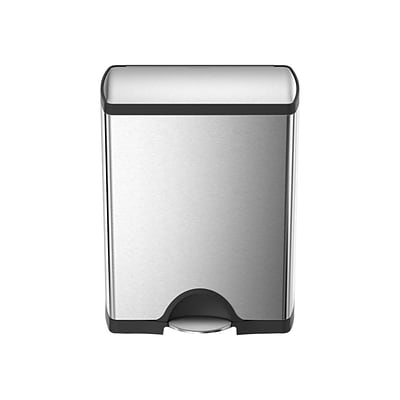 simplehuman Commercial Products Stainless Steel Container, 12.15 Gal., Silver/Black (CW1830)