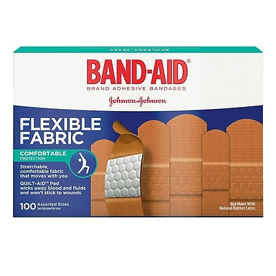 Band-Aid Assorted Fabric Adhesive Bandages, 100/Box (115078)
