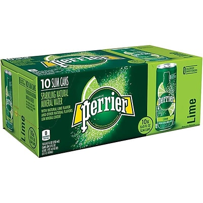 Perrier Lime Sparkling Mineral Water, 8.45 oz., 10/Pack (12283036)