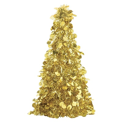 Amscan Tinsel Tree Centerpiece, Gold, 10, 6/Pack (240597)