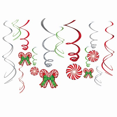 Amscan Candy Cane Swirl Decorations, Foil, 3/Pack, 12 Per Pack (679852)