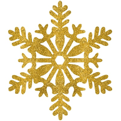Amscan Glitter Snowflake Decoration, Gold, Plastic, 11, 5/Pack (190309)
