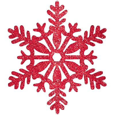 Amscan Glitter Snowflake Decoration, Red, Plastic, 11, 5/Pack (191006)