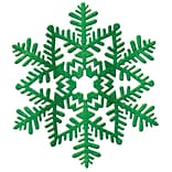 Amscan Glitter Snowflake Decoration, Green, Plastic, 6.5, 7/Pack (190226)
